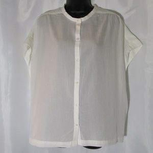 Cream short sleeve button down shirt